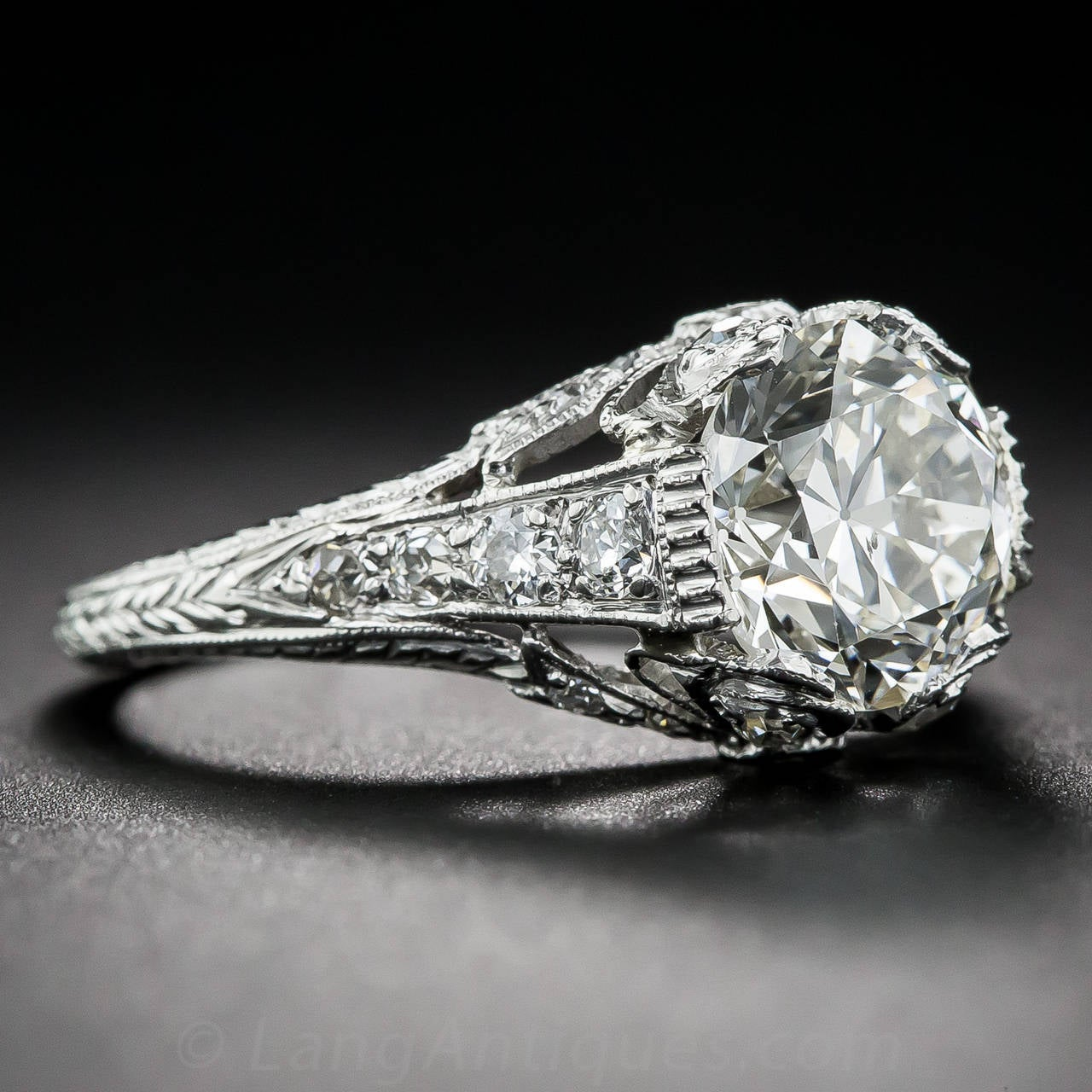 Edwardian GIA Cert 2.09 Carat Diamond Platinum Ring In Excellent Condition For Sale In San Francisco, CA
