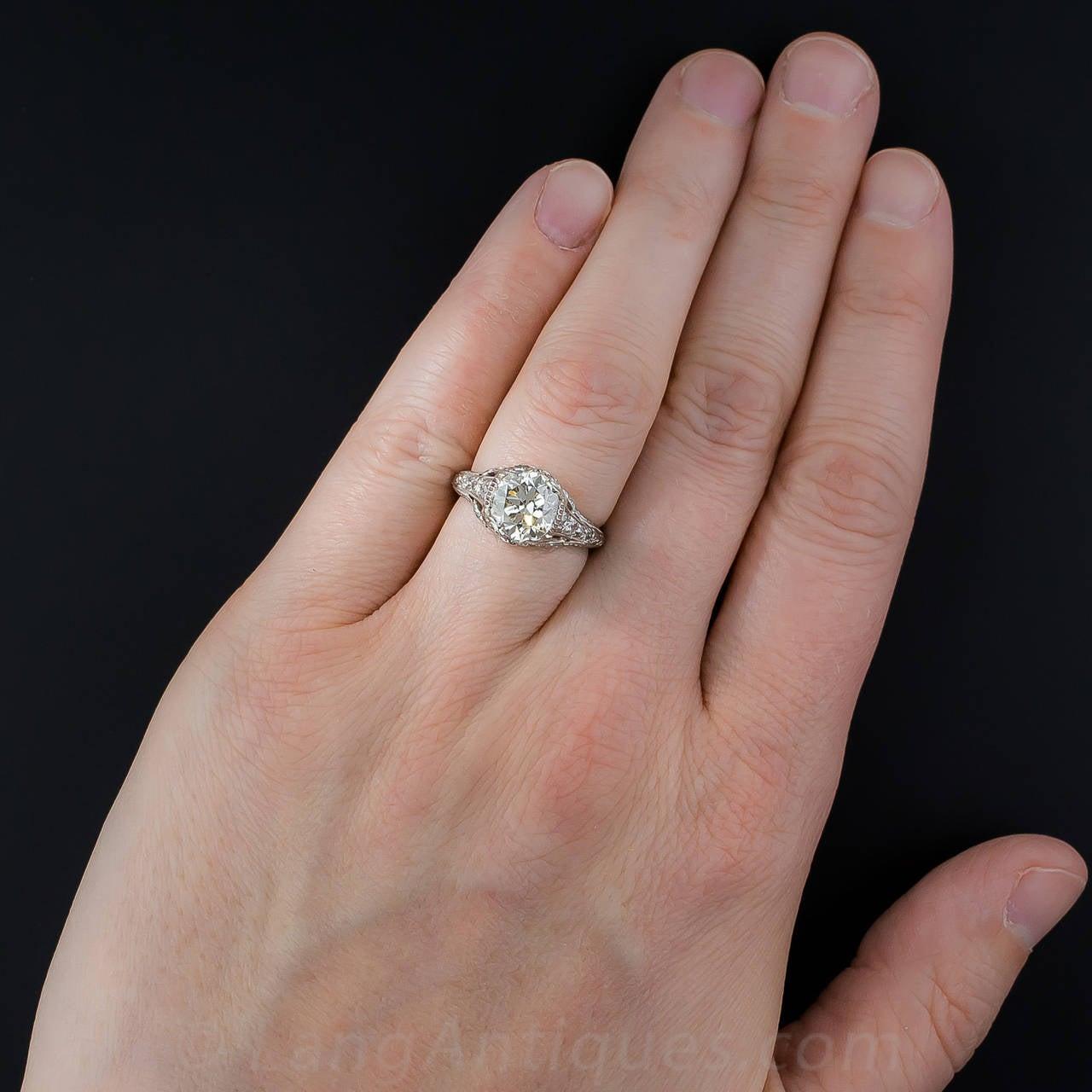 Edwardian GIA Cert 2.09 Carat Diamond Platinum Ring For Sale 2