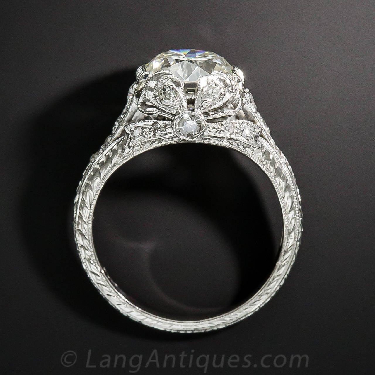 Edwardian GIA Cert 2.09 Carat Diamond Platinum Ring For Sale 1
