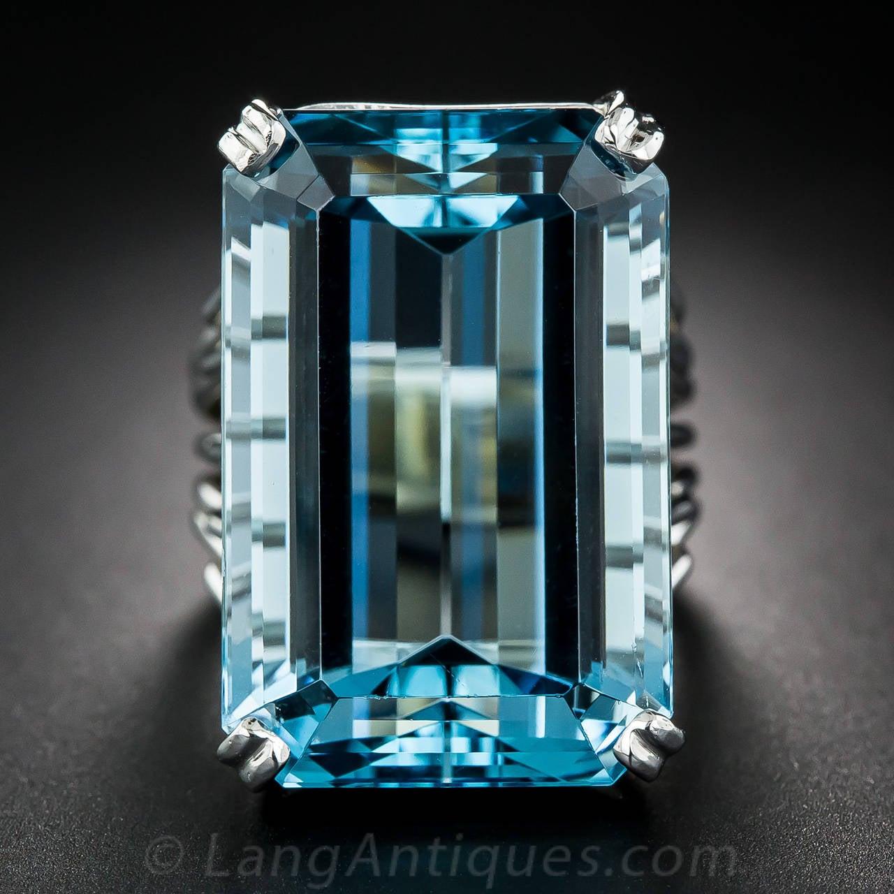Carat santa maria aquamarine platinum ring at 1stdibs for Santa maria jewelry company