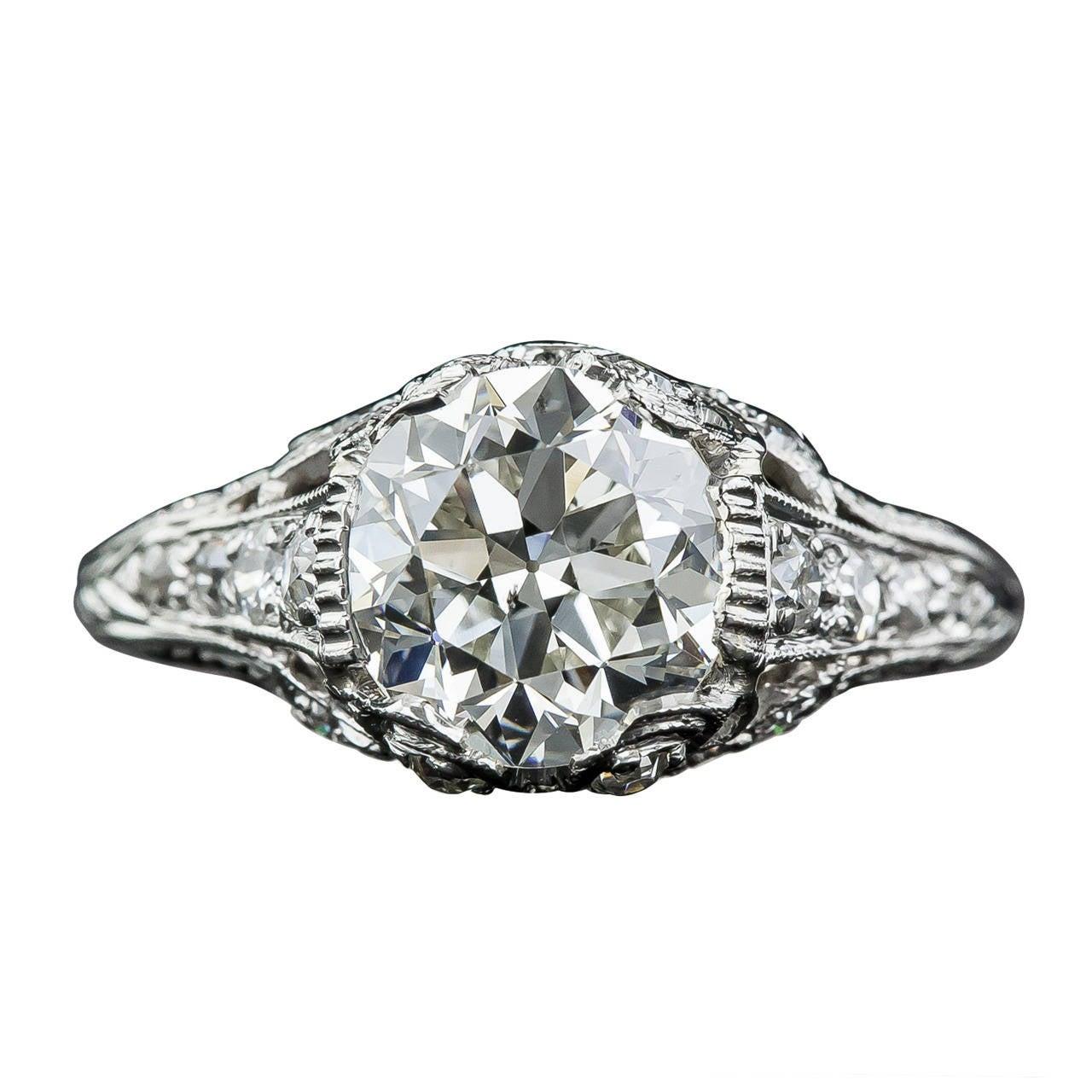 Edwardian GIA Cert 2.09 Carat Diamond Platinum Ring For Sale