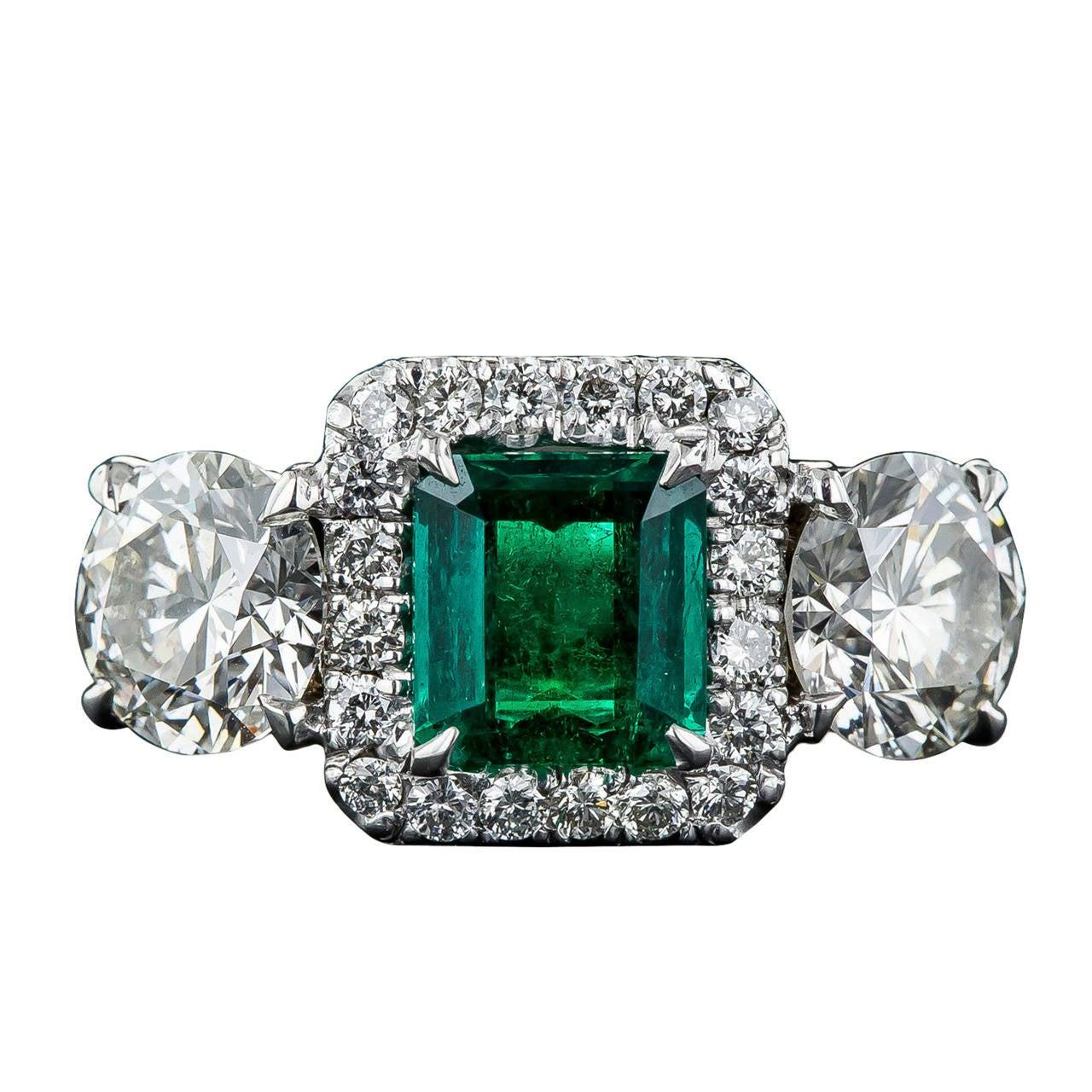 Emerald Diamond Three Stone Ring at 1stdibs