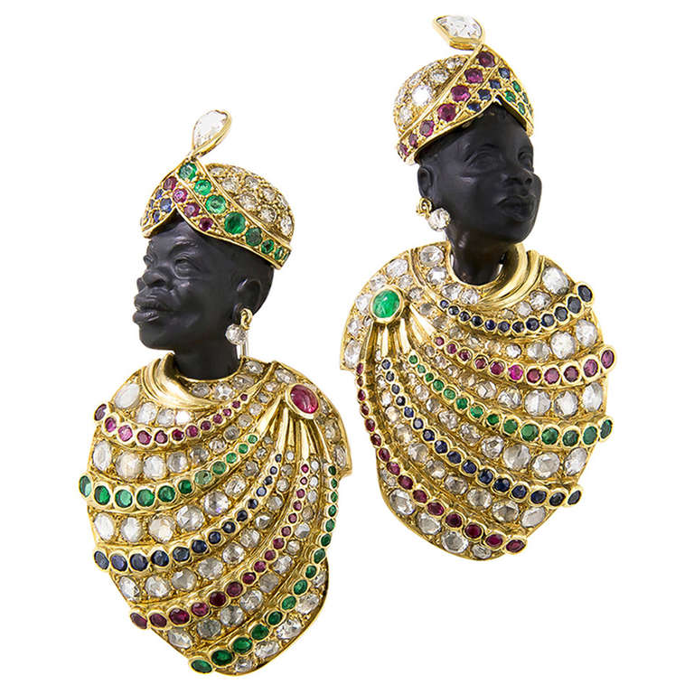 Pair Of Large Scale Blackamoor Brooches By Demner For Sale