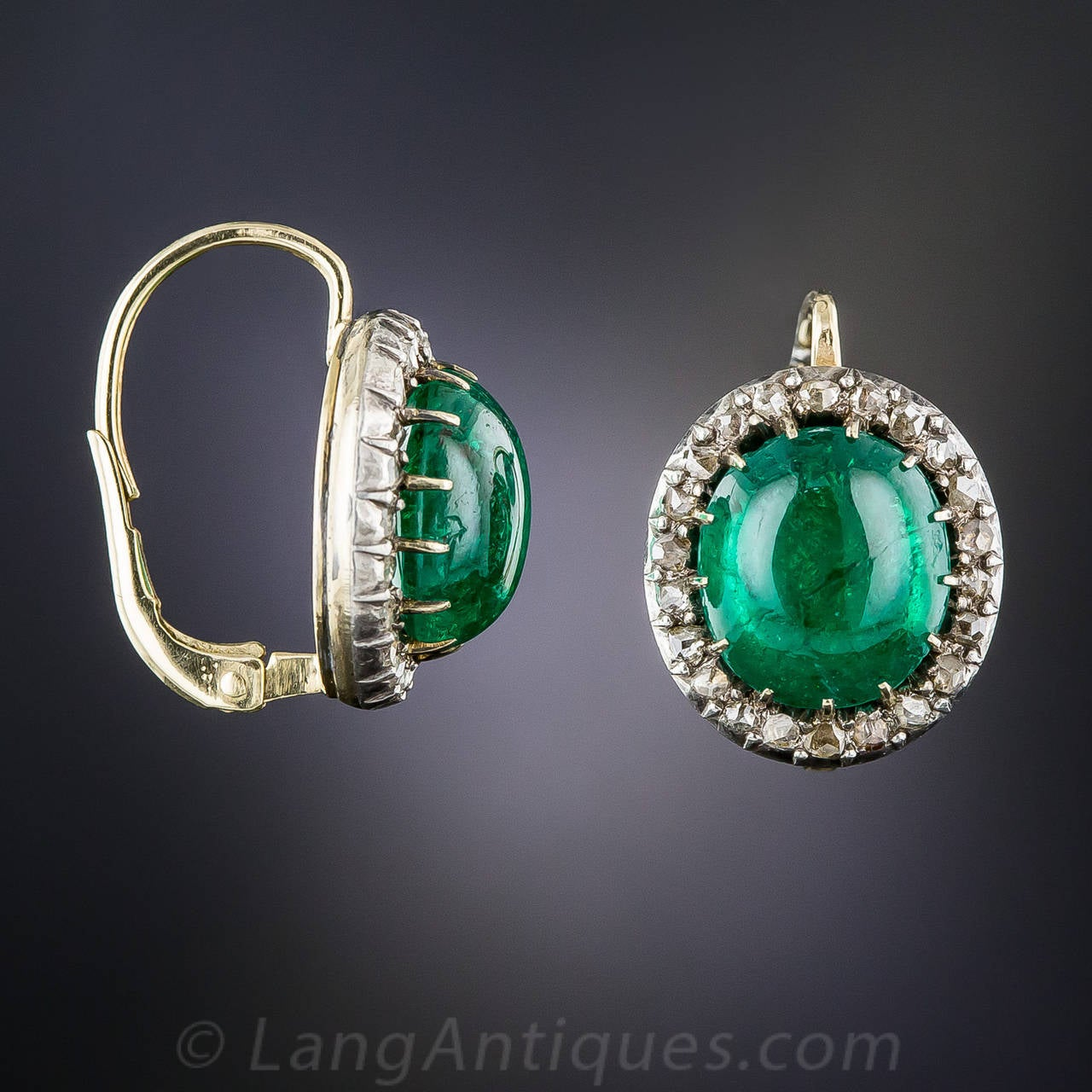 Antique 8 00 Carat Cabochon Emerald Rose Cut Diamond