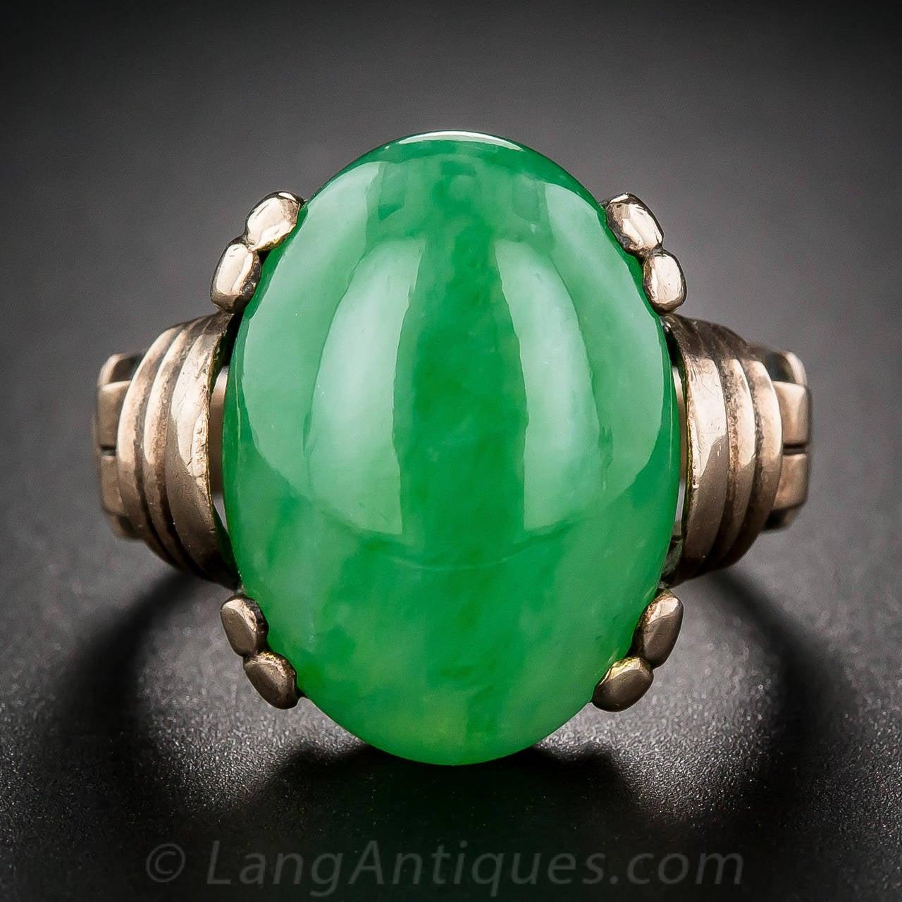 Natural Burmese Jade Rose Gold Cocktail Ring 2