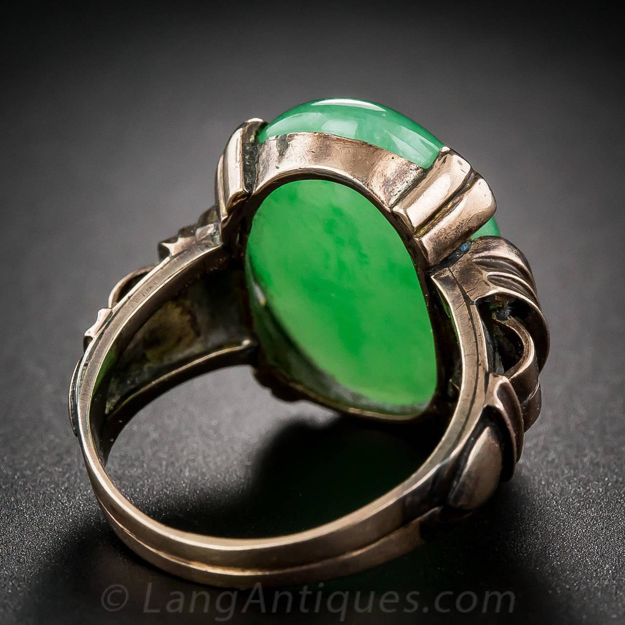 Natural Burmese Jade Rose Gold Cocktail Ring 5