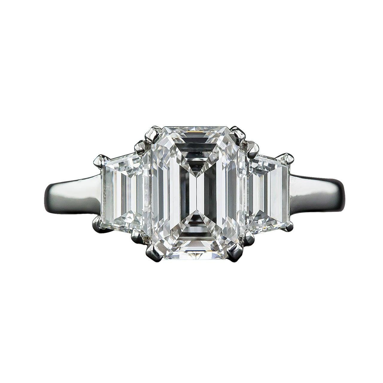 1.61 Carat GIA Cert Emerald-Cut Diamond Platinum ...