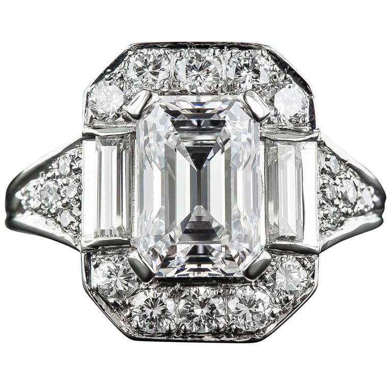 2 45 Carat Emerald Cut Diamond Ring
