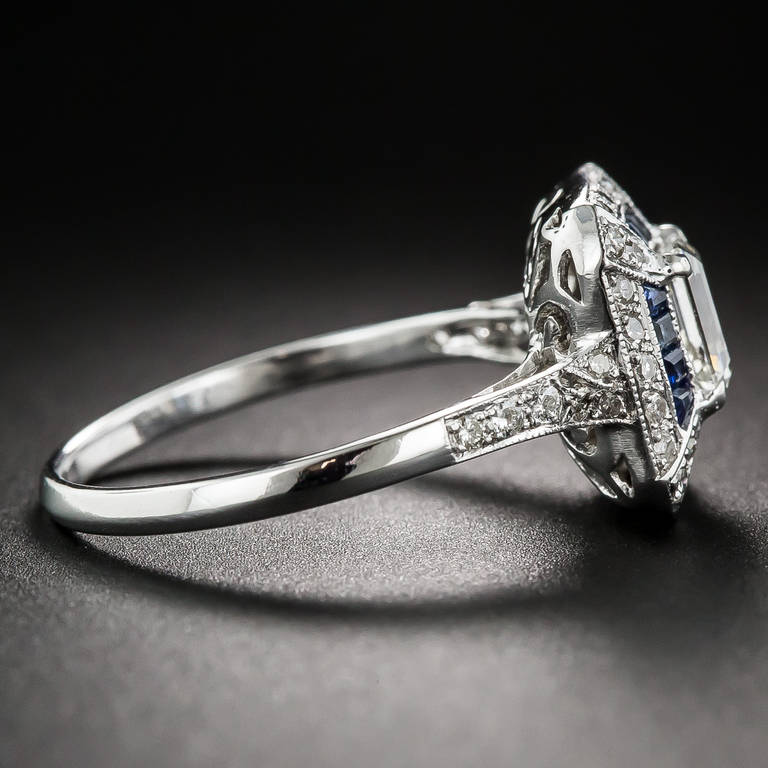 .69 Carat Emerald-Cut Art Deco Style Diamond and Calibre Sapphire Ring In Excellent Condition In San Francisco, CA