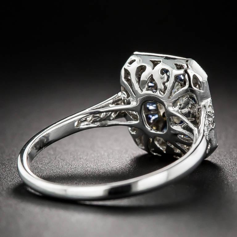Women's .69 Carat Emerald-Cut Art Deco Style Diamond and Calibre Sapphire Ring
