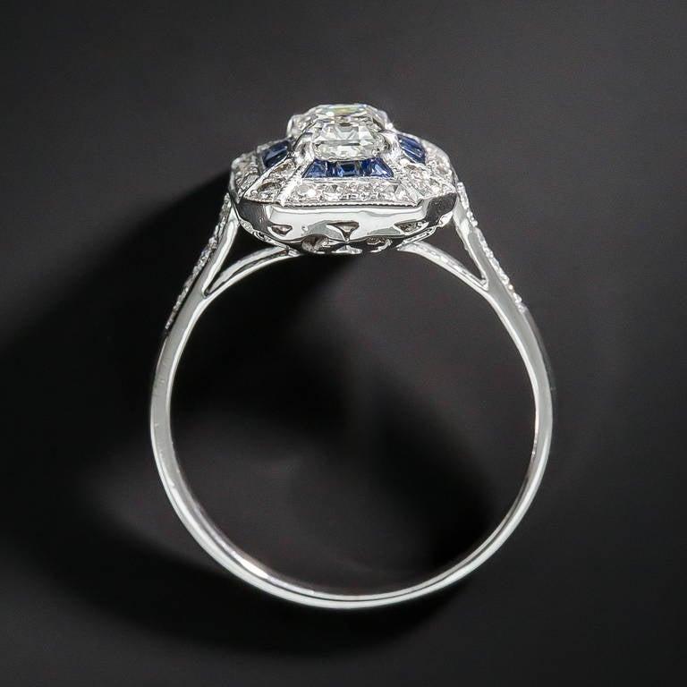 .69 Carat Emerald-Cut Art Deco Style Diamond and Calibre Sapphire Ring 1