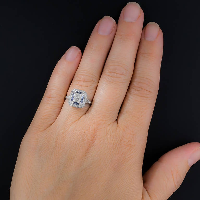 .69 Carat Emerald-Cut Art Deco Style Diamond and Calibre Sapphire Ring 2