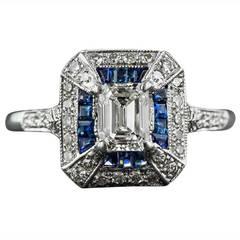 .69 Carat Emerald-Cut Art Deco Style Diamond and Calibre Sapphire Ring