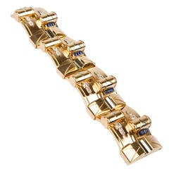 Bracelet in Three Colors of Gold with Sapphire and Diamonds, circa 1940