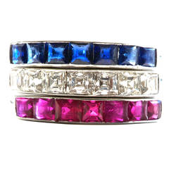Art Deco French Cut Diamond, Ruby, and Sapphire Bands