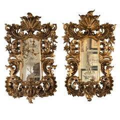 Pair of Giltwood Italian 19th Century Girandole Mirrors