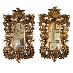 Pair of Giltwood Italian 19th Century Girandole Mirrors