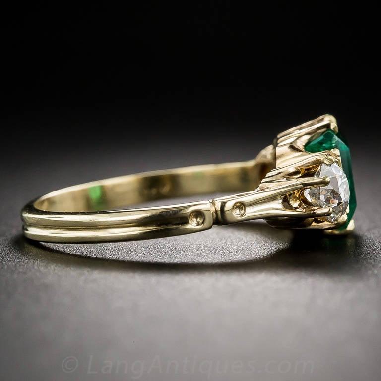 Women's Antique Victorian Emerald Diamond Ring For Sale