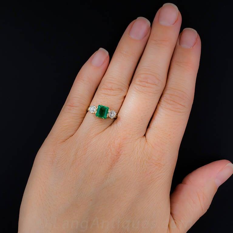 Antique Victorian Emerald Diamond Ring For Sale 2
