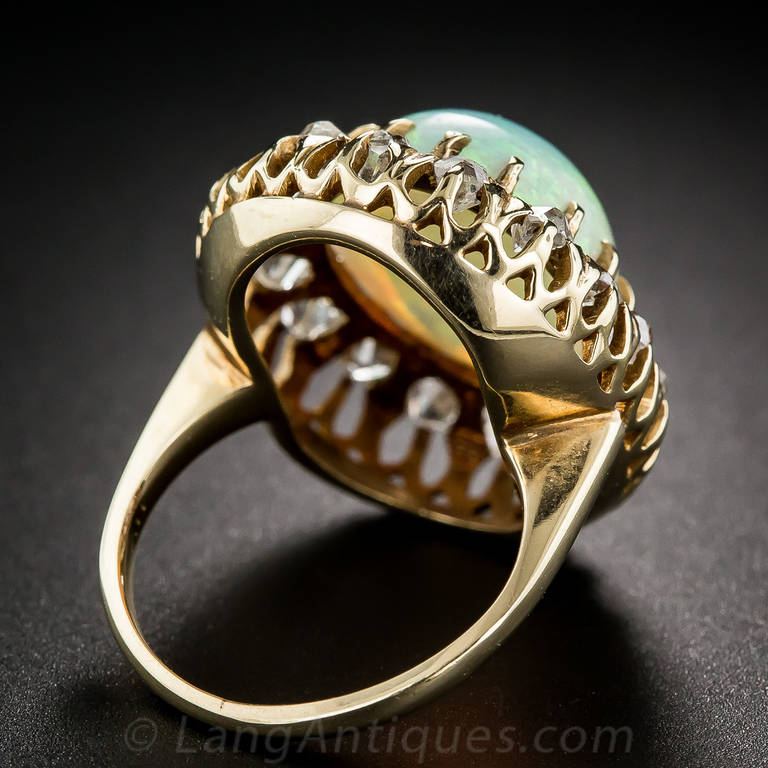 Victorian Opal Diamond Cluster Ring 5