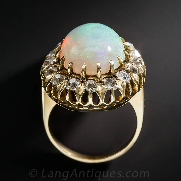 Victorian Opal Diamond Cluster Ring For Sale 2