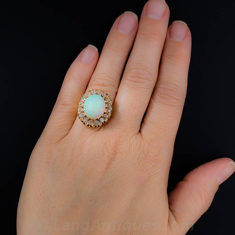 Victorian Opal Diamond Cluster Ring For Sale 3