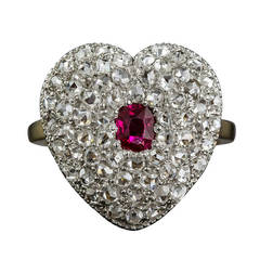 Edwardian Ruby Diamond Heart Shaped Ring
