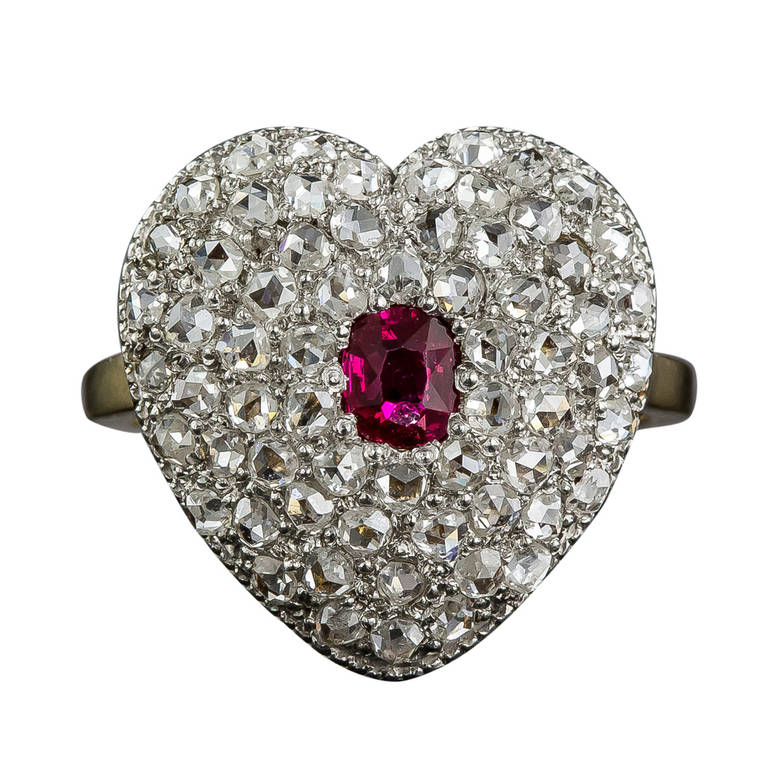 Edwardian Ruby Diamond Heart Shaped Ring For Sale At 1stdibs