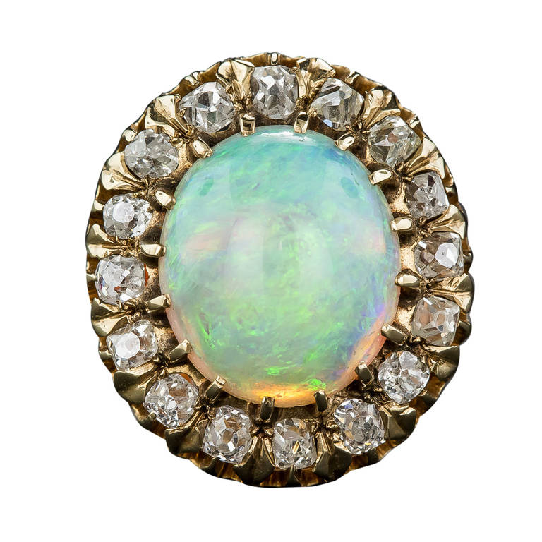Victorian Opal Diamond Cluster Ring For Sale