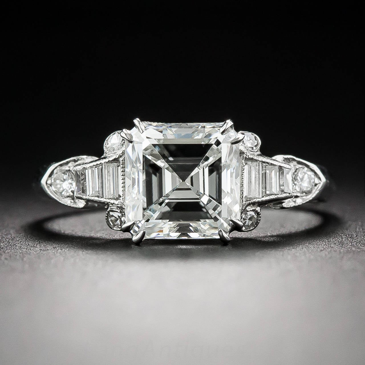 Art Deco GIA Cert 1 98 Carat Square Cut Diamond Platinum Engagement Ring at 1