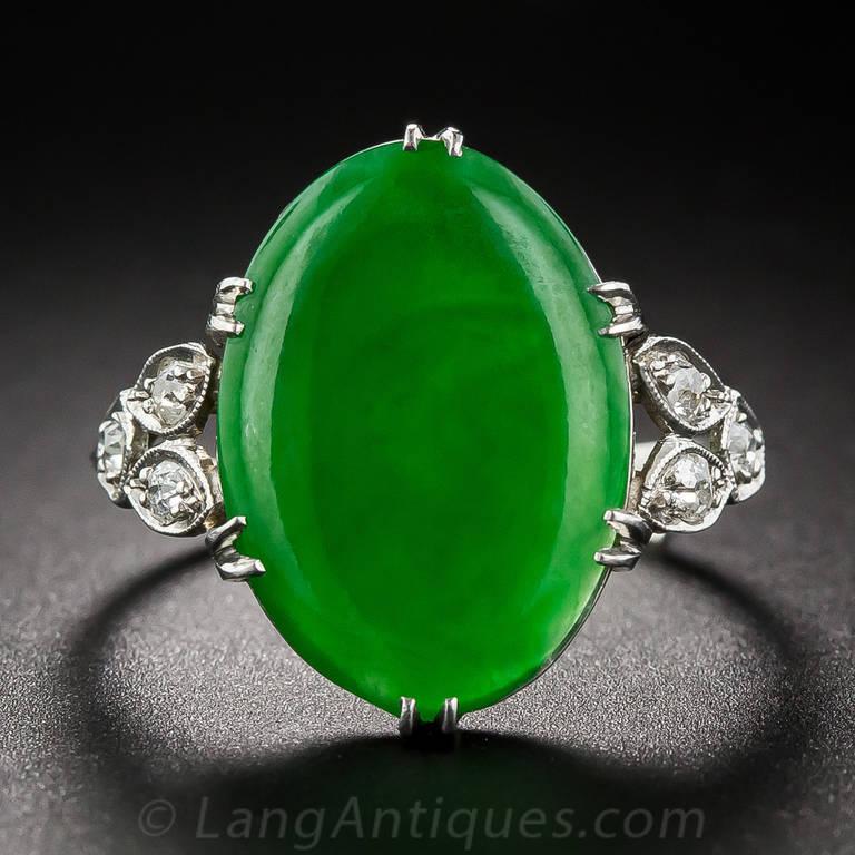 Natural Jade Diamond Platinum Ring For Sale At 1stdibs