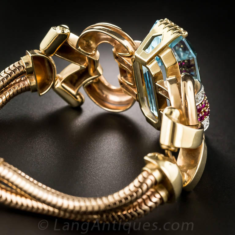 Tiffany & Co. Retro Aquamarine Diamond Ruby Bracelet 5