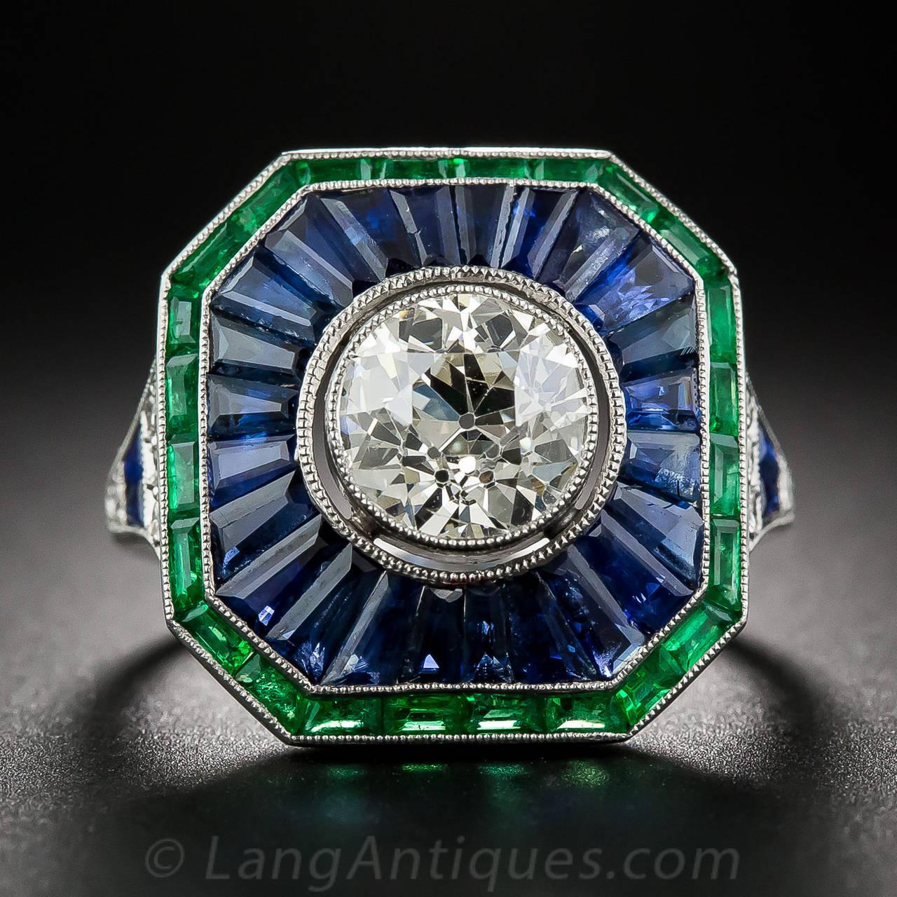 carat sapphire emerald diamond ring at 1stdibs. Black Bedroom Furniture Sets. Home Design Ideas