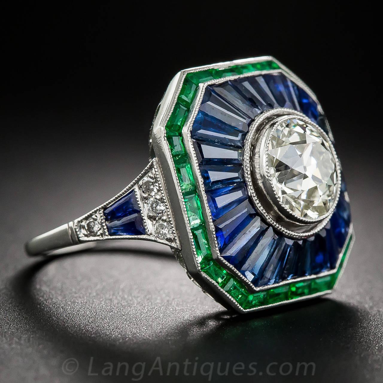 1 85 carat sapphire emerald ring at 1stdibs