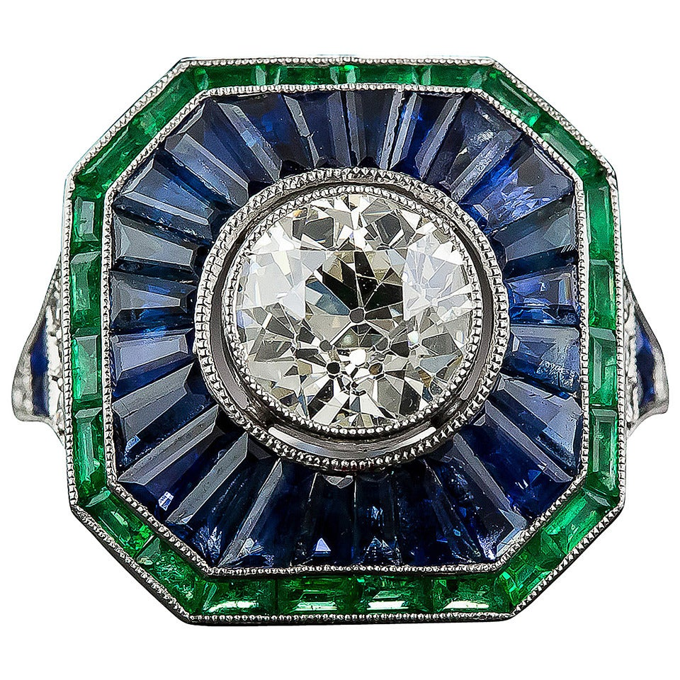 1 85 carat sapphire emerald ring at 1stdibs