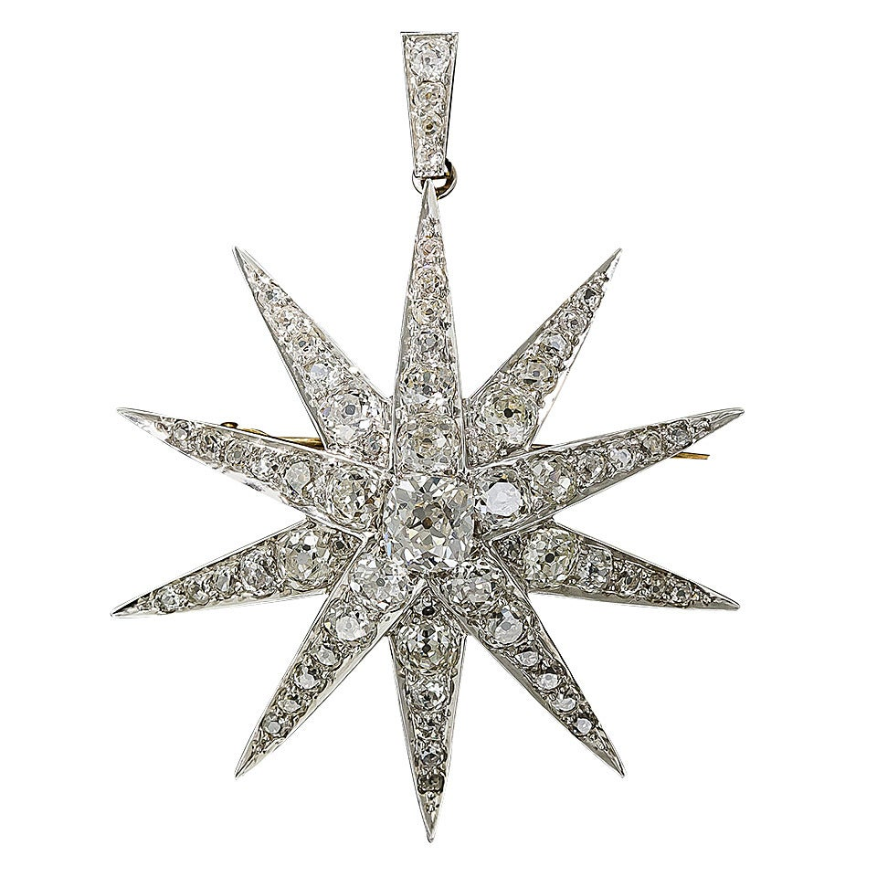 Victorian 2.13 Carat Cushion Cut Diamond Platinum Star Brooch Pendant - GIA Cert For Sale