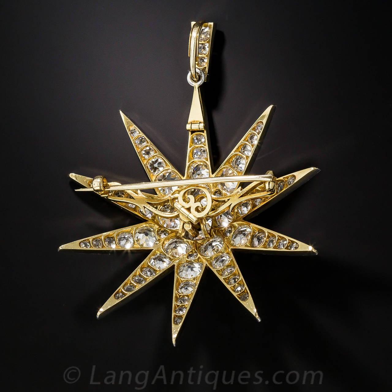 Victorian 2.13 Carat Cushion Cut Diamond Platinum Star Brooch Pendant - GIA Cert 3