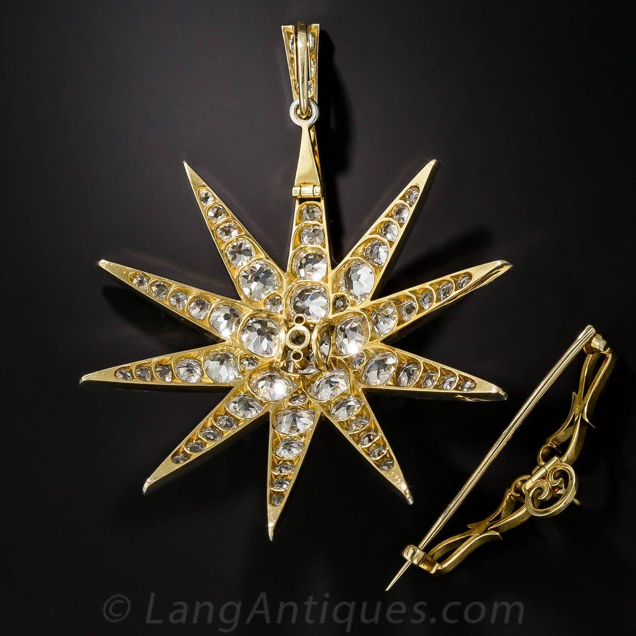 Women's or Men's Victorian 2.13 Carat Cushion Cut Diamond Platinum Star Brooch Pendant - GIA Cert For Sale