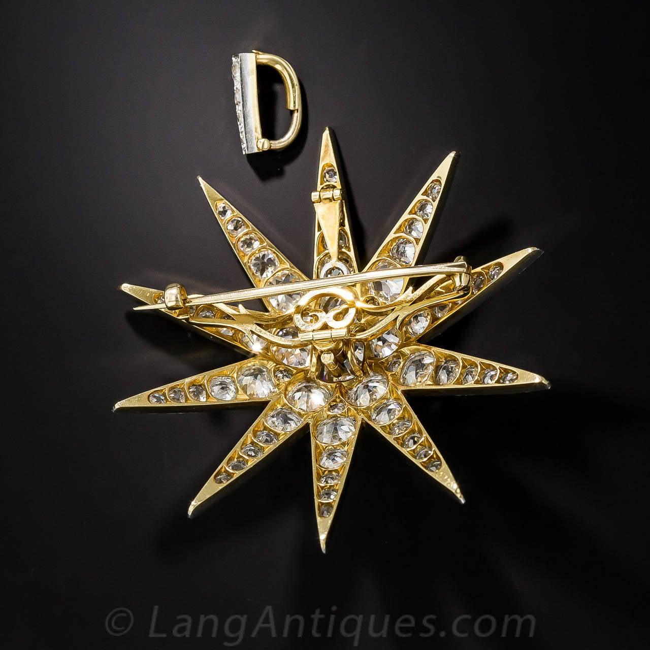 Victorian 2.13 Carat Cushion Cut Diamond Platinum Star Brooch Pendant - GIA Cert 5