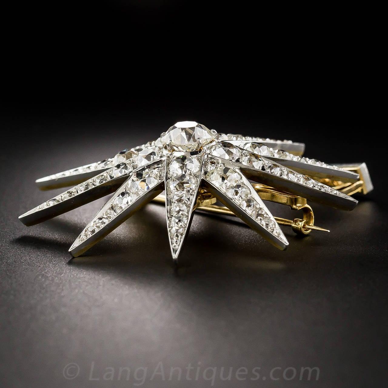 Victorian 2.13 Carat Cushion Cut Diamond Platinum Star Brooch Pendant - GIA Cert For Sale 2