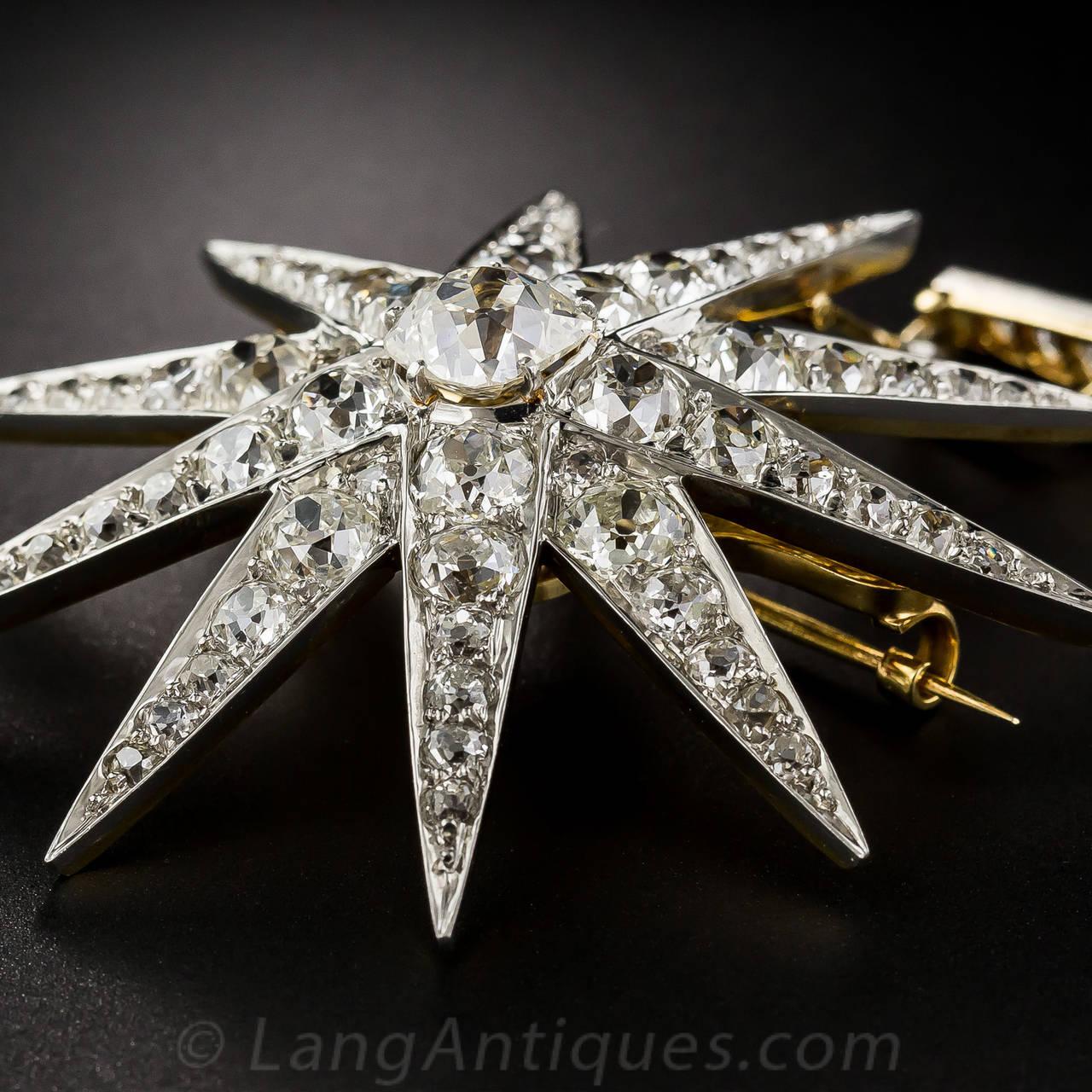 Victorian 2.13 Carat Cushion Cut Diamond Platinum Star Brooch Pendant - GIA Cert For Sale 3