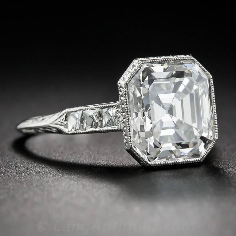 4 04 Carat Asscher Cut Gia Cert Diamond Platinum Ring At
