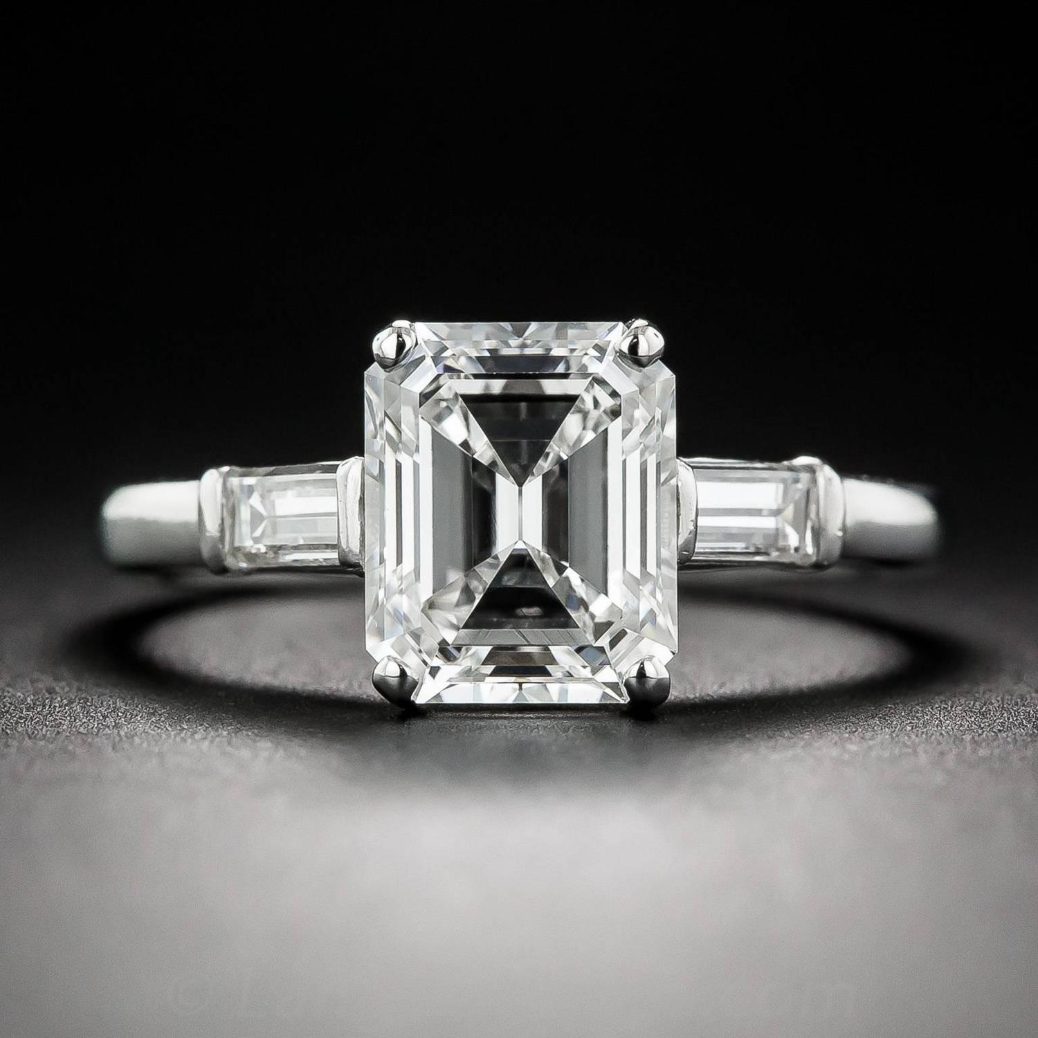 Raymond Yard 2 21 Carat Emerald Cut Diamond Platinum Ring For Sale at 1stdibs