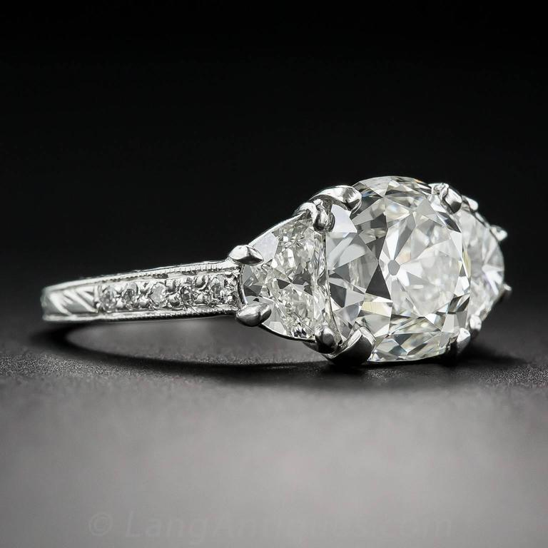3.03 Carat GIA Cert Antique Cushion Diamond Platinum Engagement Ring  3