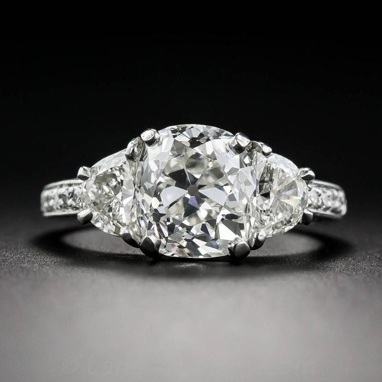 3.03 Carat GIA Cert Antique Cushion Diamond Platinum Engagement Ring  2