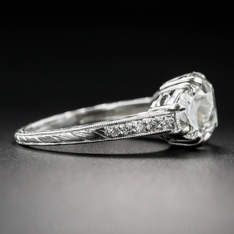 3.03 Carat GIA Cert Antique Cushion Diamond Platinum Engagement Ring  4