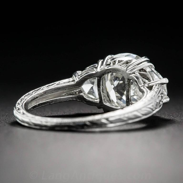 3.03 Carat GIA Cert Antique Cushion Diamond Platinum Engagement Ring  5