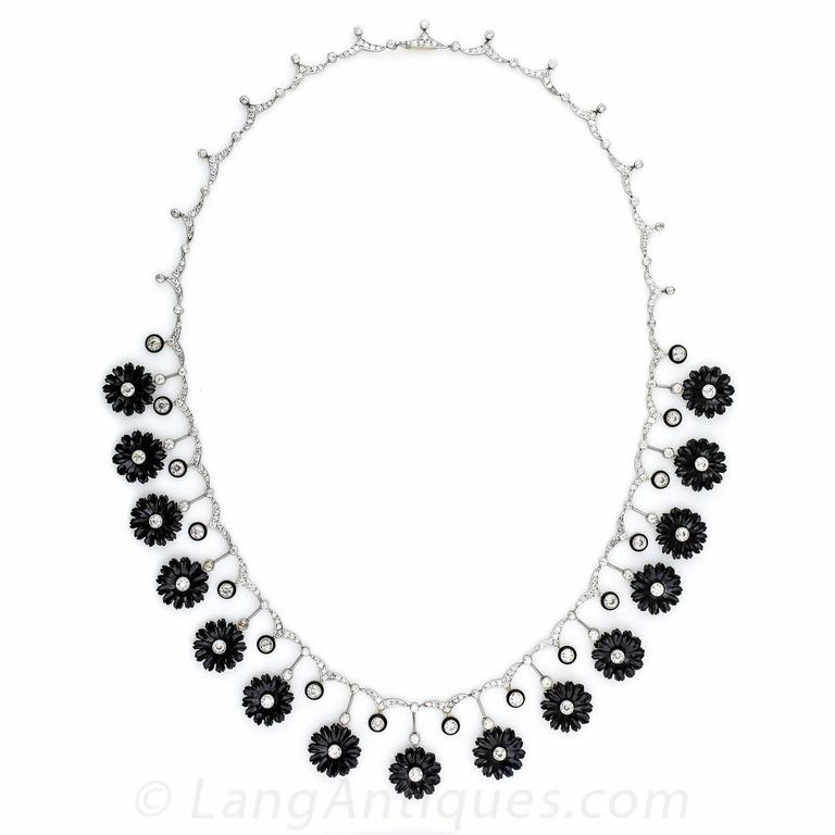Early Art Deco Onyx Diamond Platinum Flower Necklace In Excellent Condition For Sale In San Francisco, CA