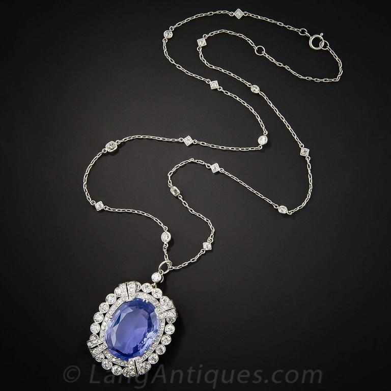 15.65 Carat Unheated Ceylon Sapphire Art Deco Diamond Platinum Necklace 4
