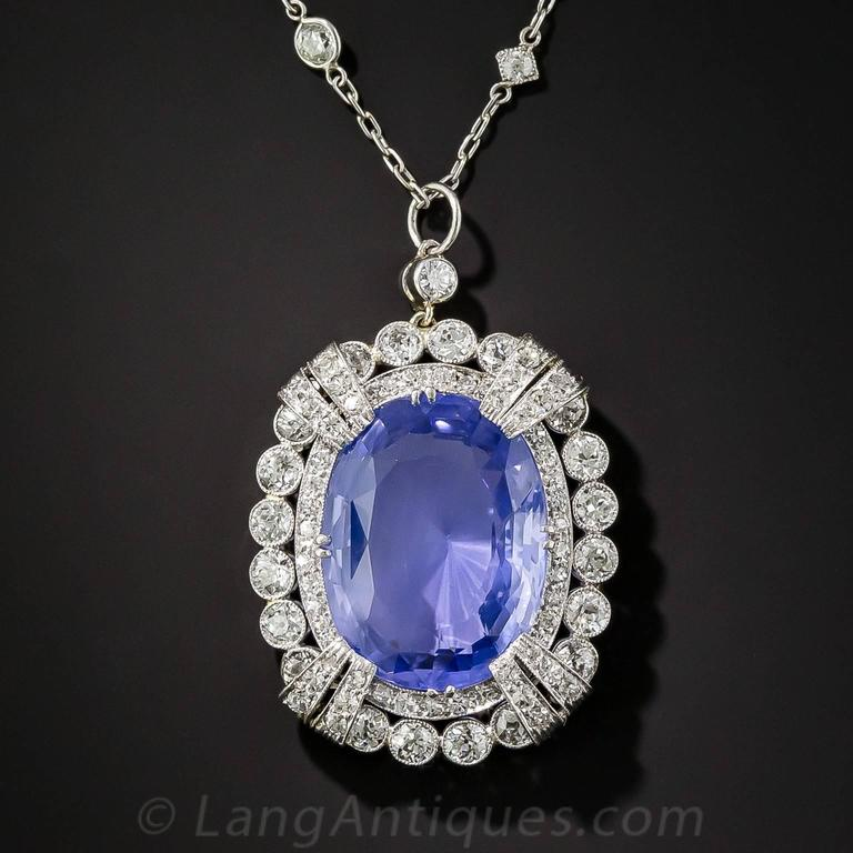 15.65 Carat Unheated Ceylon Sapphire Art Deco Diamond Platinum Necklace 3